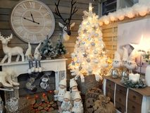 Interior of home articles shop with Christmas decorations Royalty Free Stock Images