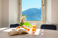 Interior home, breakfast on the table Royalty Free Stock Photography