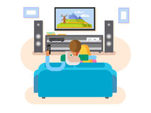Interior home cinema. House furniture, movie and tv, screen and audio stereo, vector illustration Stock Photos
