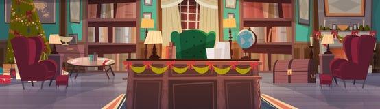 Interior home decorado por feriados do Natal e do ano novo, mesa de escritório vazia do local de trabalho e poltrona com pinho da ilustração do vetor