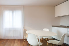 Interior home, dining table and chairs white Royalty Free Stock Photo
