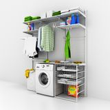 Interior of home laundry on a white wall background 3d vector illustration