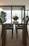 Interior home, modern dining table Royalty Free Stock Image
