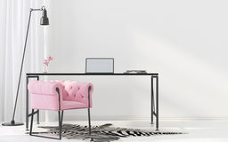 Interior of the home office. 3D illustration. Interior of the cabinet in Art Deco style with pink armchair Stock Photos