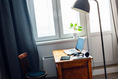 Interior Home Office Laptop Earphones Mouse Table Stock Images