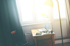 Interior Home Office Laptop Earphones Mouse Table Royalty Free Stock Photos