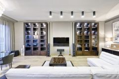 Interior home theater. The interior of the home theater in a modern luxury home Stock Photos