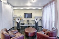 Interior home theater. The interior of the home theater in a modern luxury home Stock Photo