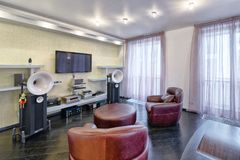 Interior home theater. The interior of the home theater in a modern luxury home Royalty Free Stock Image