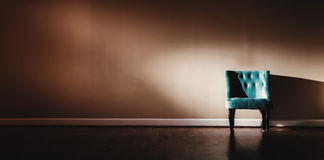Interior home with turquoise chair Royalty Free Stock Images