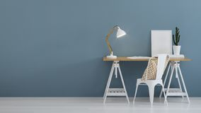Interior of home workplace. Blue wall. stock photo