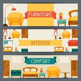 Interior horizontal banners with furniture in Stock Photos