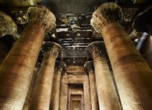 Interior of Horus temple, Edfu, Egypt. Stock Photos