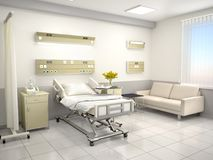 The interior of the hospital room is in warm colors. 3d illustration Stock Photo