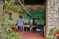 The interior of the hostel for the pilgrims. San Vicente de la Barquera Royalty Free Stock Photography