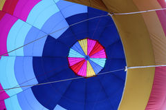 Interior of hot air balloon. Blue and pink patchwork design of hot air balloon Stock Image