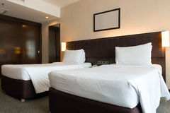 Interior of hotel bedroom Royalty Free Stock Images