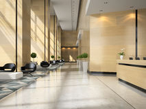 Interior of a hotel reception 3D illustration Royalty Free Stock Photo