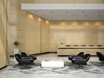 Interior of a hotel reception 3D illustration Royalty Free Stock Image
