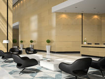 Interior of a hotel reception 3D illustration Stock Images