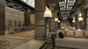 Interior of hotel reception hall 3D illustration Stock Image