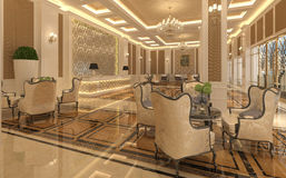 Interior of hotel reception hall 3D illustration Royalty Free Stock Photography