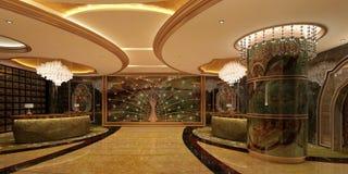 Interior of hotel reception hall 3D illustration Royalty Free Stock Photos