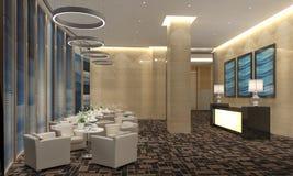 Interior of hotel reception hall 3D illustration Royalty Free Stock Image