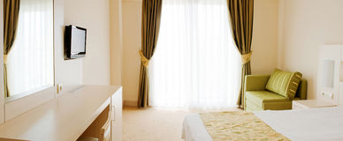Interior of the hotel room. Bedroom. Interior of the hotel room Stock Photography