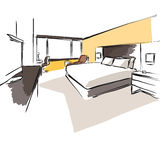 Interior Hotel Room Concept Sketch Layout Royalty Free Stock Images