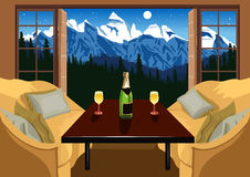 Interior of a hotel room in ski resort in the evening Royalty Free Stock Photography