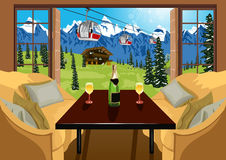 Interior of a hotel room in ski resort in summer Royalty Free Stock Image