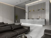 Interior of a hotel spa reception 3D illustration Royalty Free Stock Image