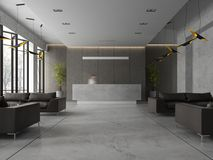 Interior of a hotel spa reception 3D illustration Royalty Free Stock Photo