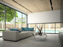 Interior hous with swiming pool 3D rendering Royalty Free Stock Photo