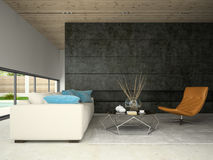 Interior of hous with swiming pool 3D rendering Stock Photo