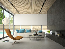 Interior of hous with swiming pool 3D rendering Royalty Free Stock Image