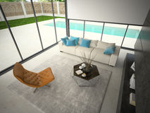 Interior of hous with swiming pool 3D rendering Royalty Free Stock Photo