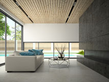 Interior hous with swiming pool 3D rendering Royalty Free Stock Images
