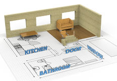 Interior house. Architecture interior house plan blueprint Royalty Free Stock Photography