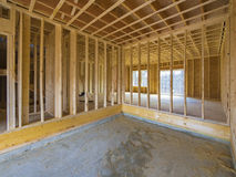 Interior house construction. With framing just put up Royalty Free Stock Image