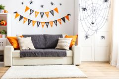 Interior of   house decorated for   holiday halloween. Interior of   house decorated for a holiday halloween Royalty Free Stock Photography