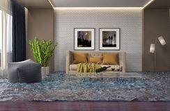 Interior of the house flooded with water. 3d illustration Royalty Free Stock Images