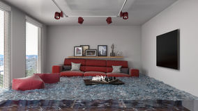 Interior of the house flooded with water. 3d illustration Stock Photo