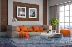 Interior of the house flooded with water. 3d illustration Stock Images