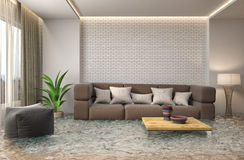 Interior of the house flooded with water. 3d illustration Royalty Free Stock Photos