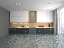 Interior of the house flooded with water. 3d illustration Royalty Free Stock Photography