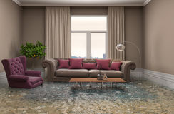 Interior of the house flooded with water. 3d illustration Stock Image