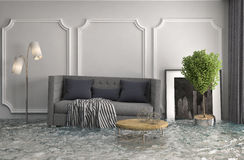Interior of the house flooded with water. 3d illustration Royalty Free Stock Photo