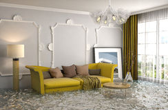 Interior of the house flooded with water. 3d illustration Stock Photos